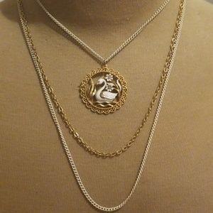 Vintage Majesti Swan Tri-Rope Chain Necklace